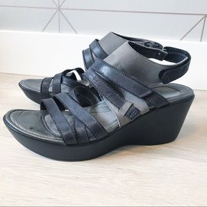 Naot Leather Strappy Wedge Sandals